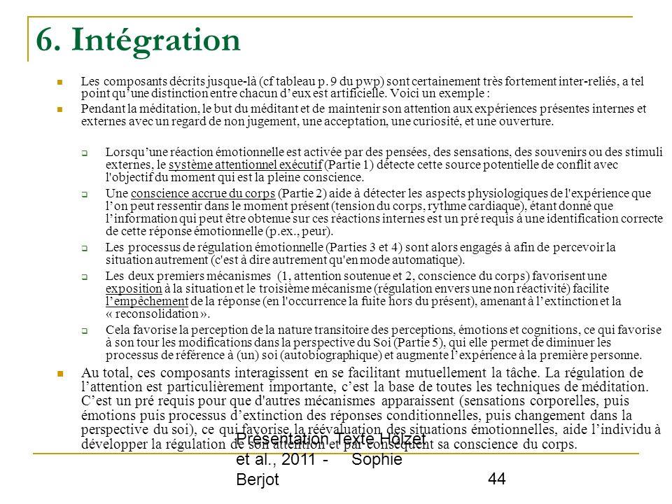 6. Intégration Présentation Texte Hölzet et al., 2011 - Sophie Berjot
