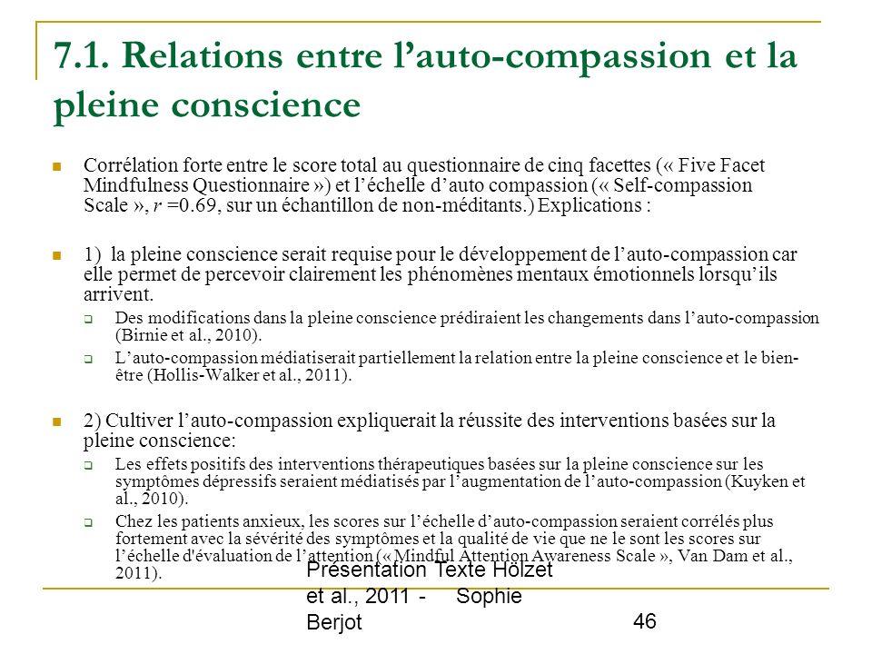 7.1. Relations entre l'auto-compassion et la pleine conscience