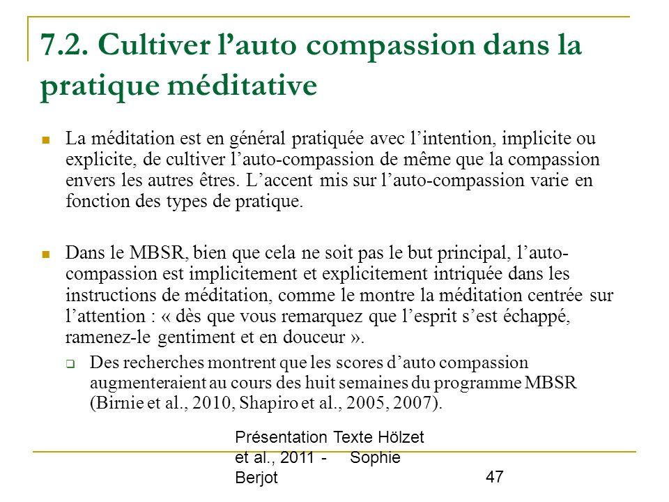 7.2. Cultiver l'auto compassion dans la pratique méditative