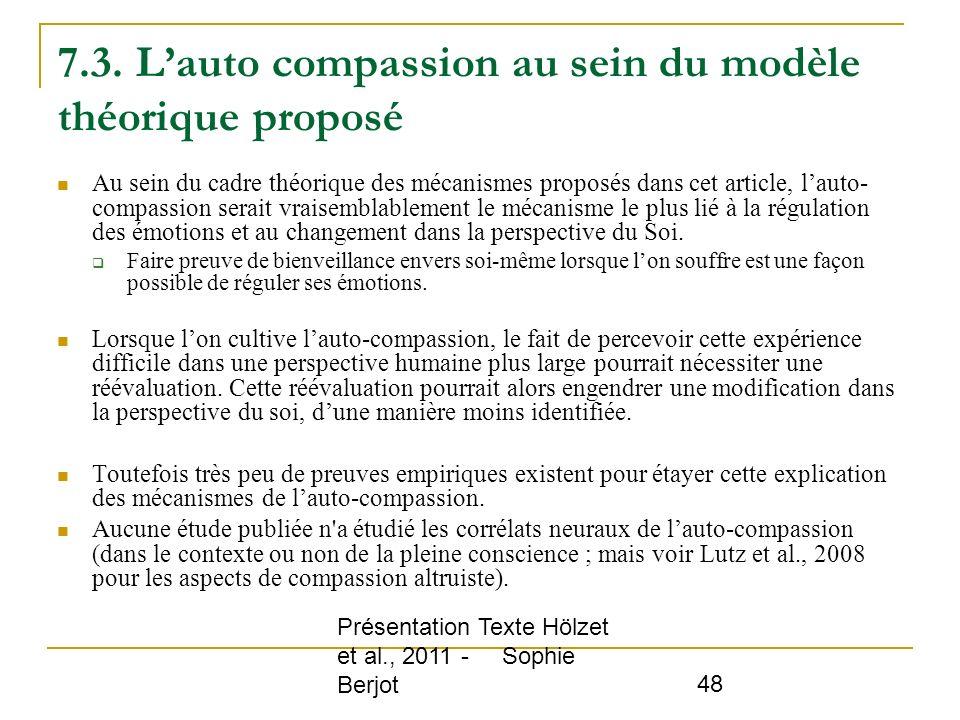 7.3. L'auto compassion au sein du modèle théorique proposé