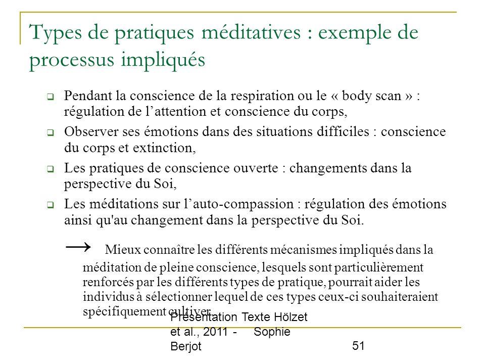 Types de pratiques méditatives : exemple de processus impliqués