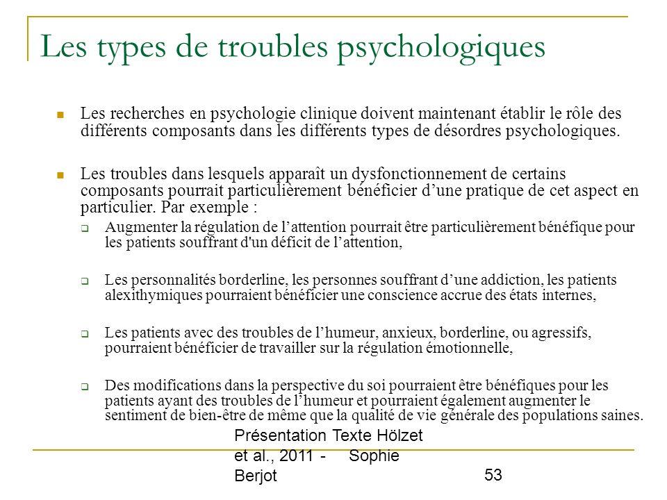 Les types de troubles psychologiques
