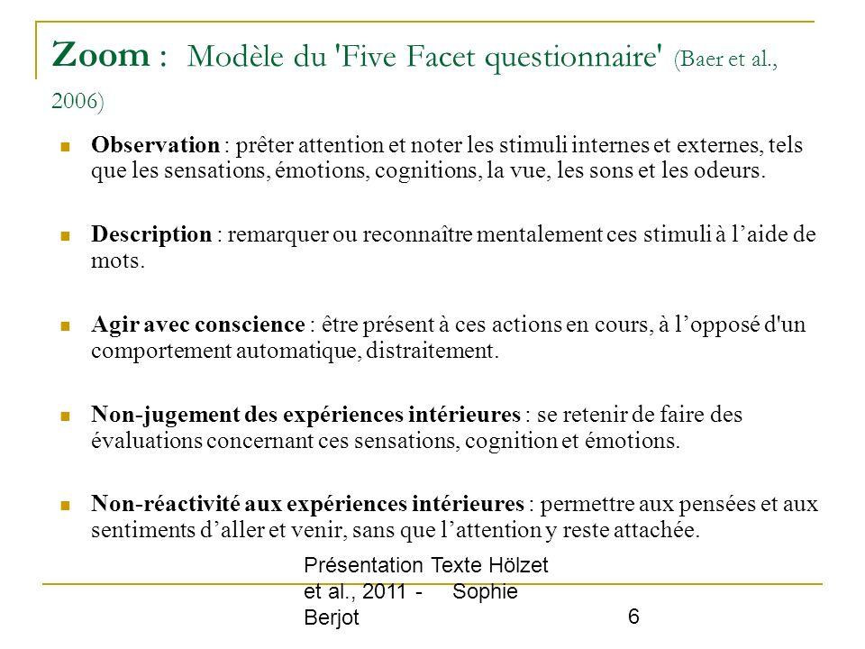 Zoom : Modèle du Five Facet questionnaire (Baer et al., 2006)