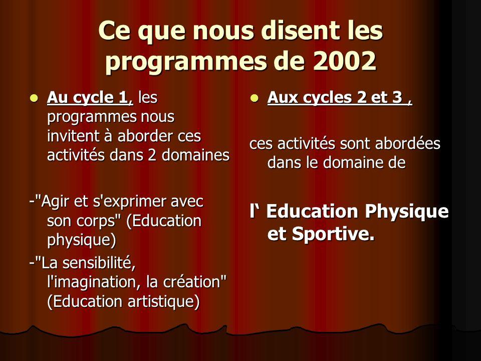 Ce que nous disent les programmes de 2002