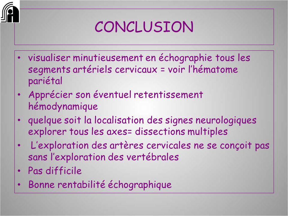 CONCLUSION visualiser minutieusement en échographie tous les segments artériels cervicaux = voir l'hématome pariétal.
