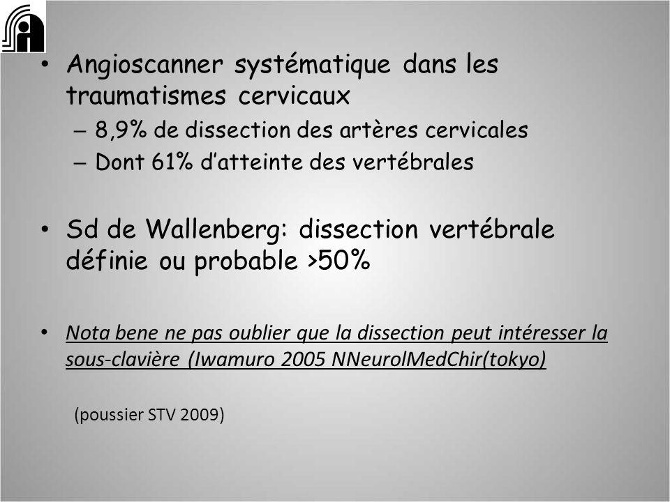 Angioscanner systématique dans les traumatismes cervicaux
