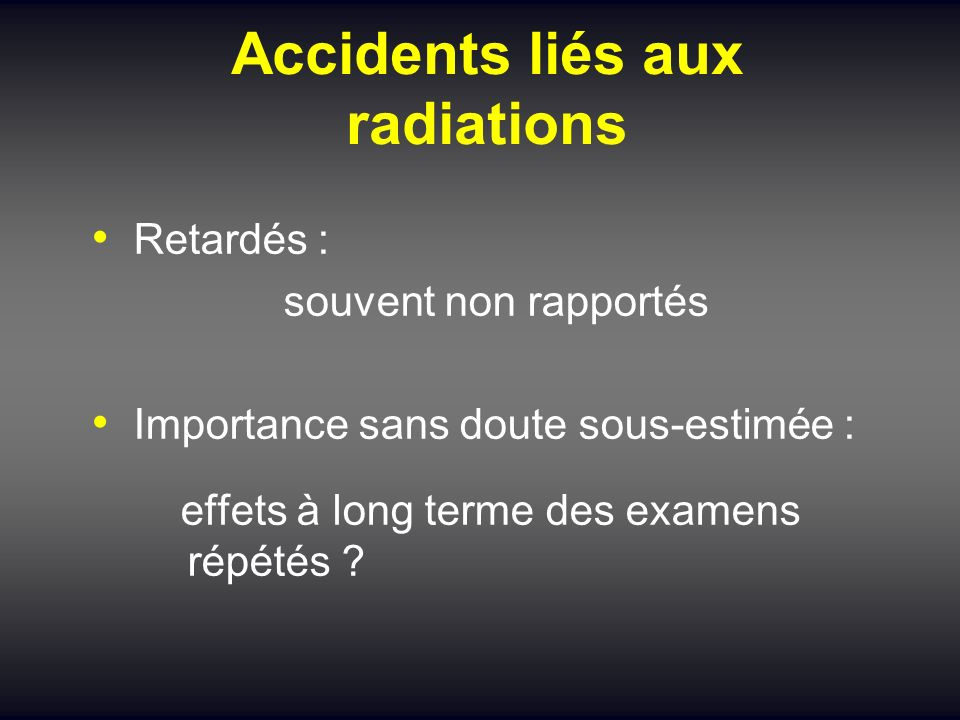 Accidents liés aux radiations