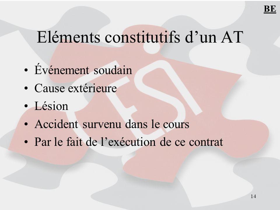 Eléments constitutifs d'un AT