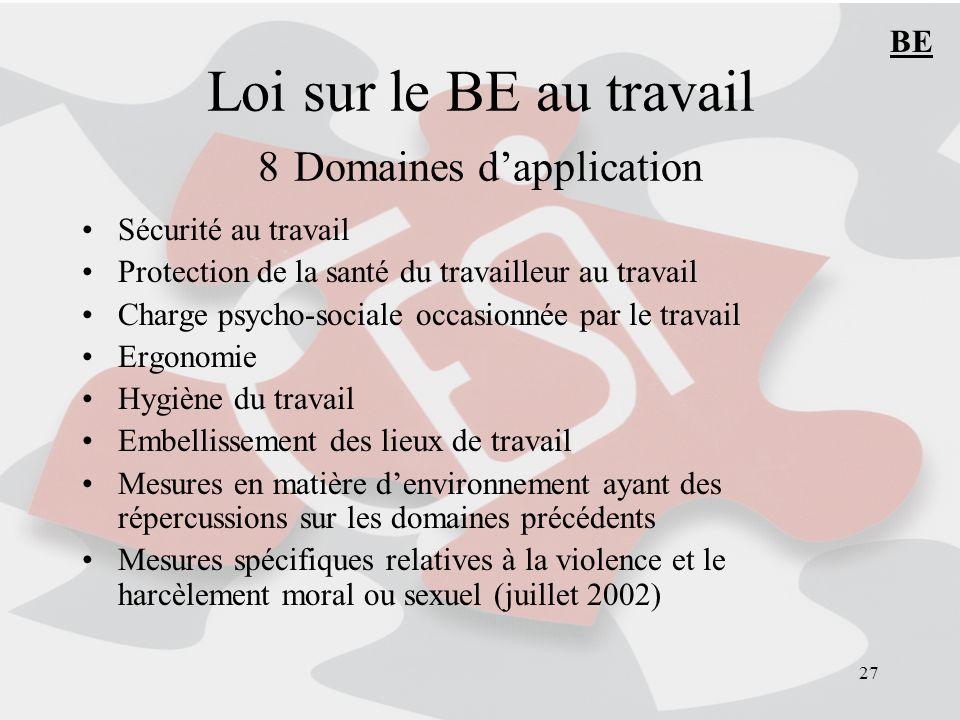 Loi sur le BE au travail 8 Domaines d'application