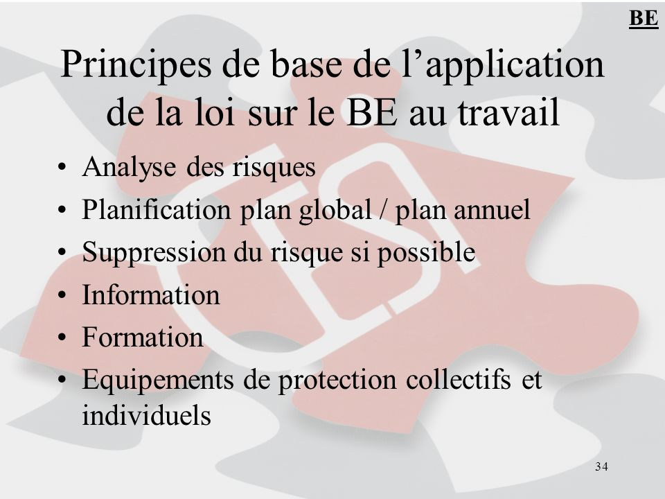 Principes de base de l'application de la loi sur le BE au travail