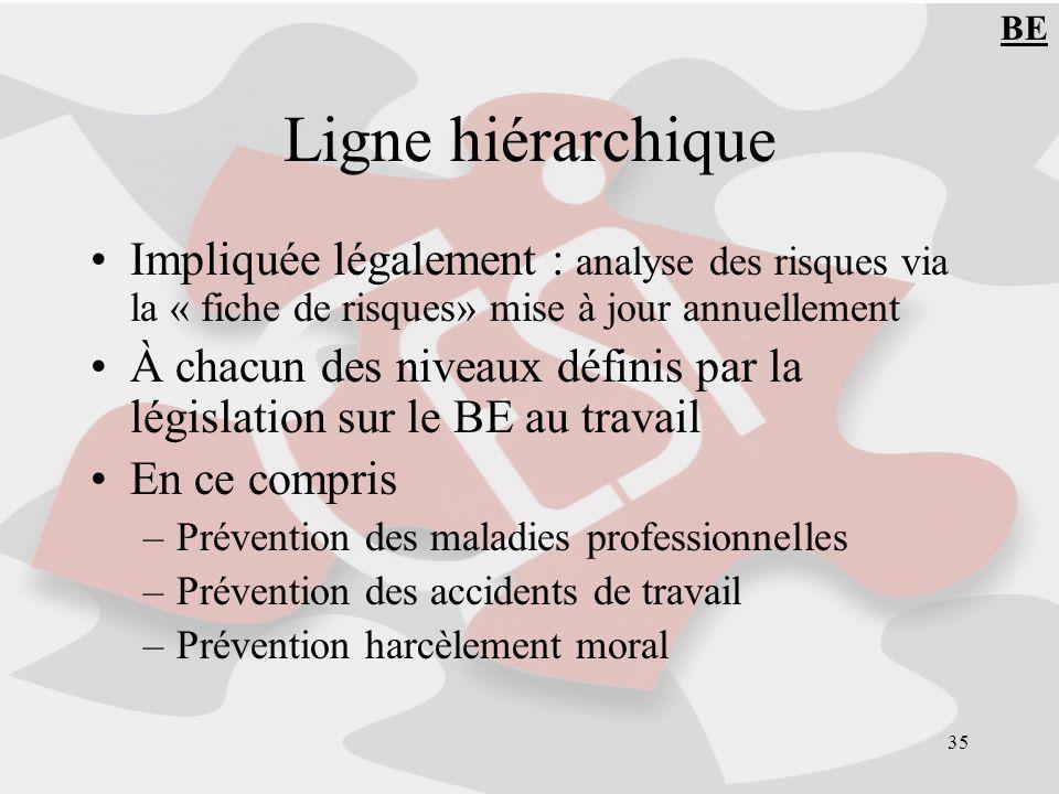 BE Ligne hiérarchique. Impliquée légalement : analyse des risques via la « fiche de risques» mise à jour annuellement.