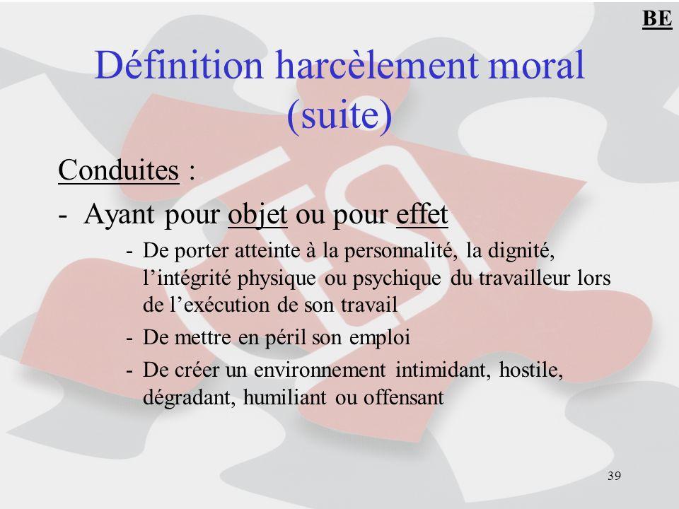 Définition harcèlement moral (suite)