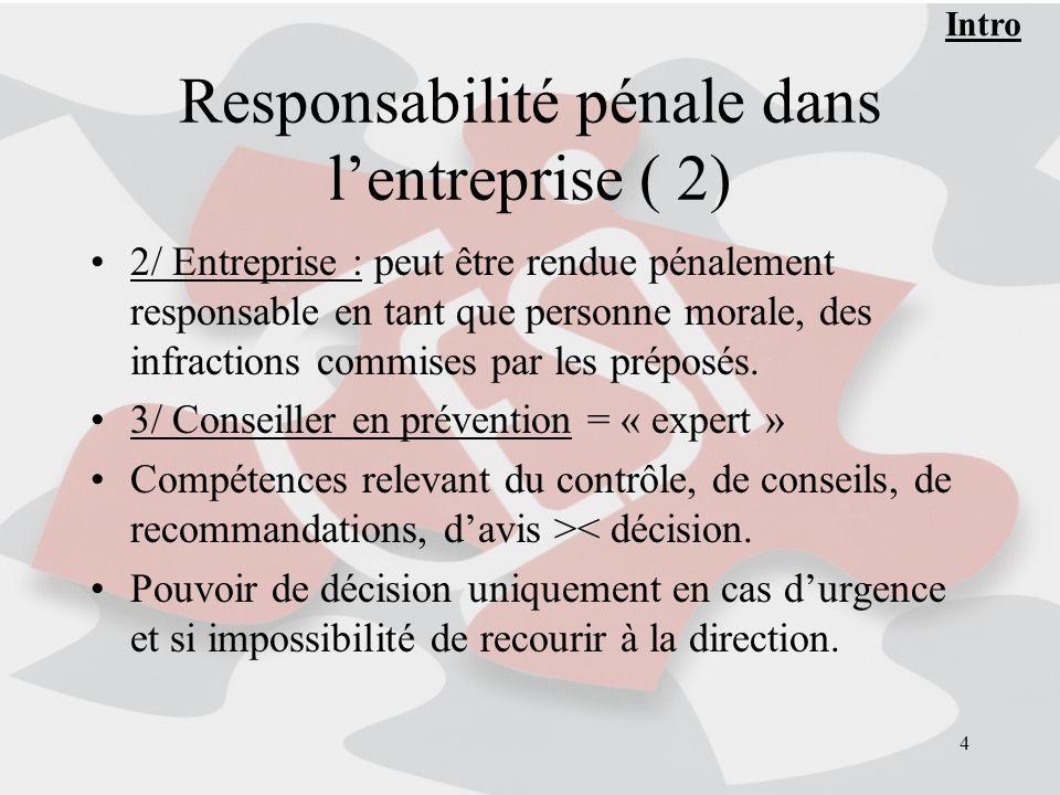 Responsabilité pénale dans l'entreprise ( 2)