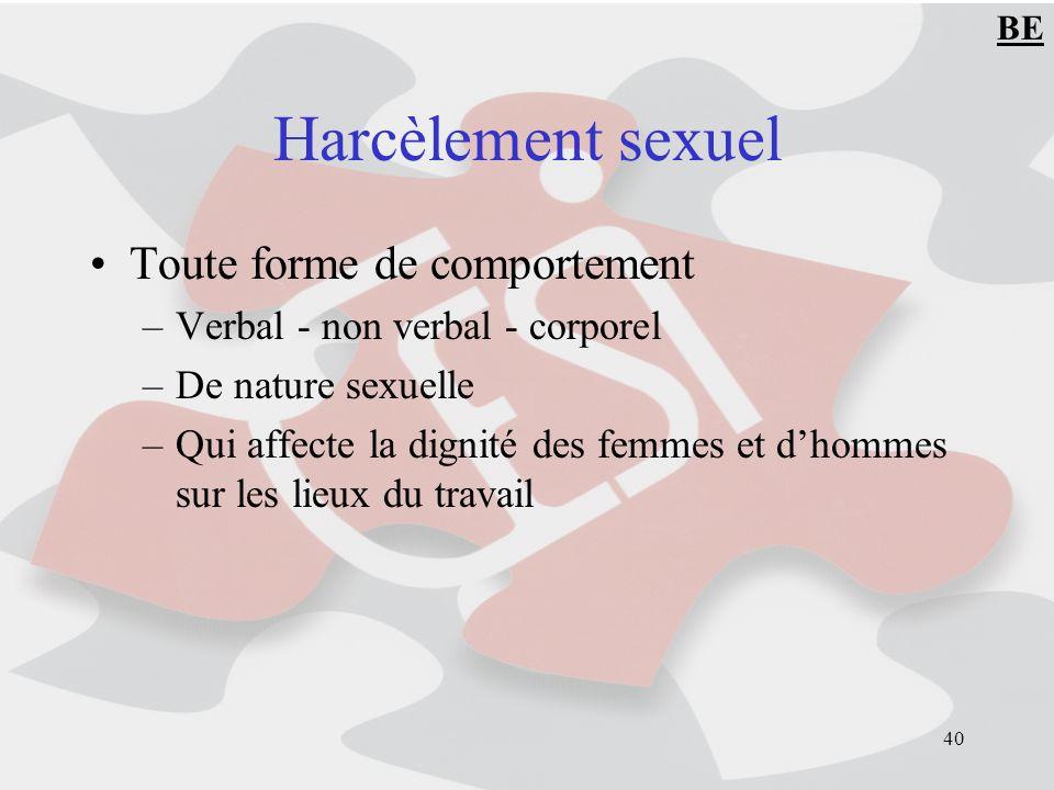 Harcèlement sexuel Toute forme de comportement