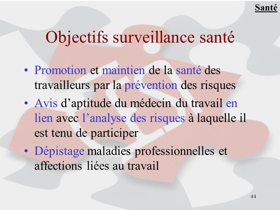 Objectifs surveillance santé