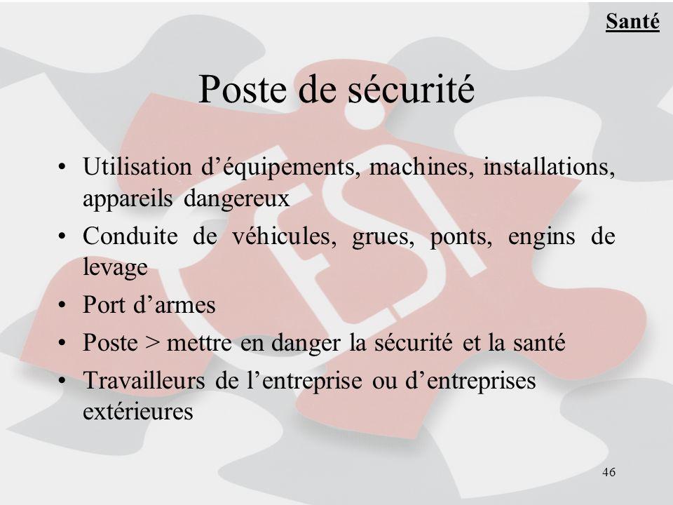 Santé Poste de sécurité. Utilisation d'équipements, machines, installations, appareils dangereux.