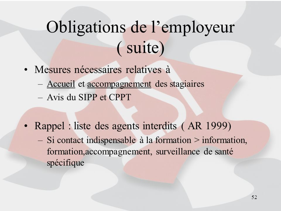 Obligations de l'employeur ( suite)