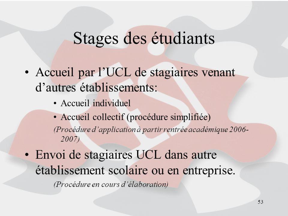 Stages des étudiants Accueil par l'UCL de stagiaires venant d'autres établissements: Accueil individuel.