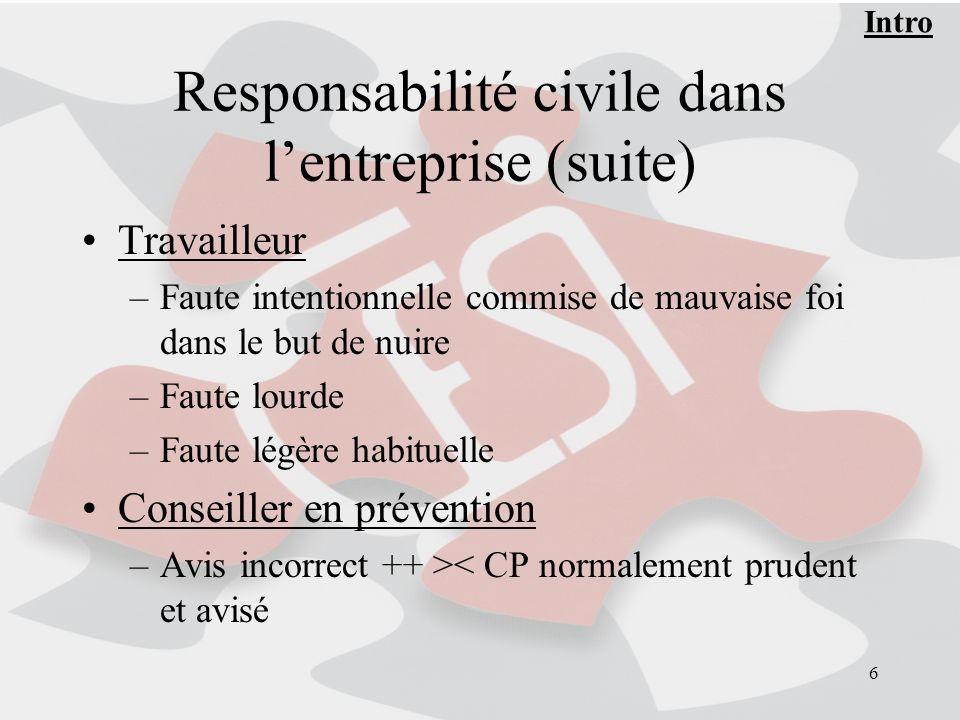 Responsabilité civile dans l'entreprise (suite)