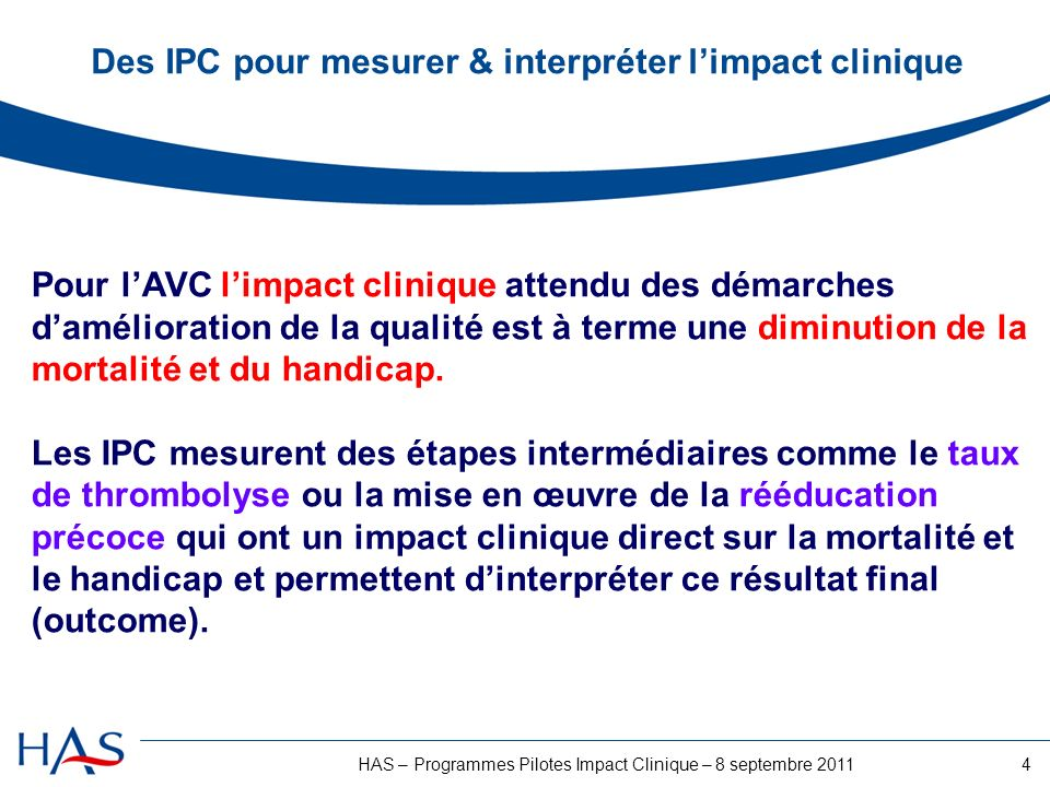 Des IPC pour mesurer & interpréter l'impact clinique