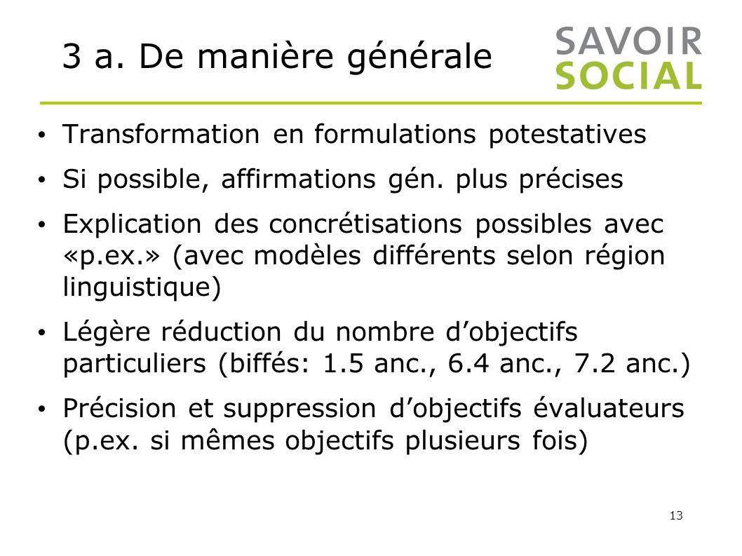 3 a. De manière générale Transformation en formulations potestatives