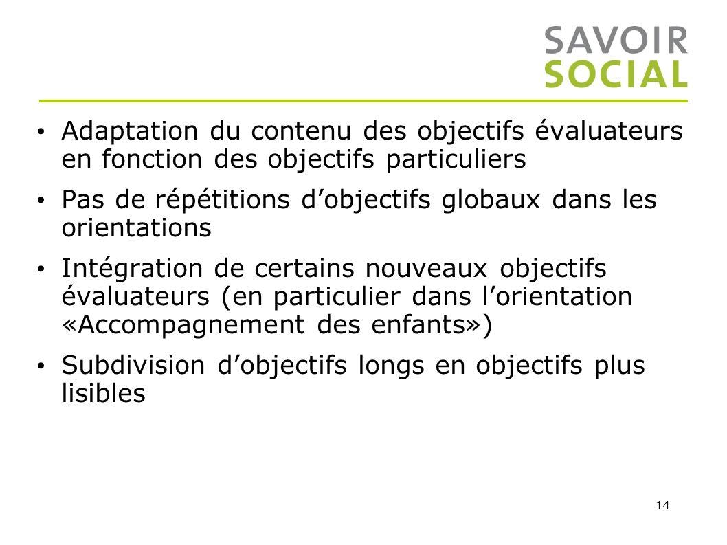 Adaptation du contenu des objectifs évaluateurs en fonction des objectifs particuliers
