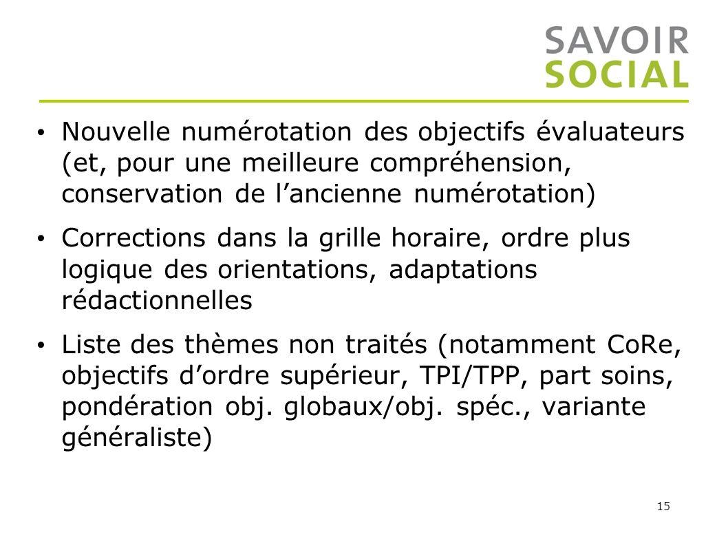 Nouvelle numérotation des objectifs évaluateurs (et, pour une meilleure compréhension, conservation de l'ancienne numérotation)