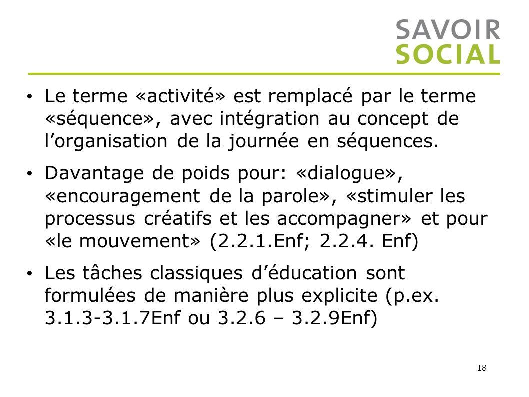 Le terme «activité» est remplacé par le terme «séquence», avec intégration au concept de l'organisation de la journée en séquences.