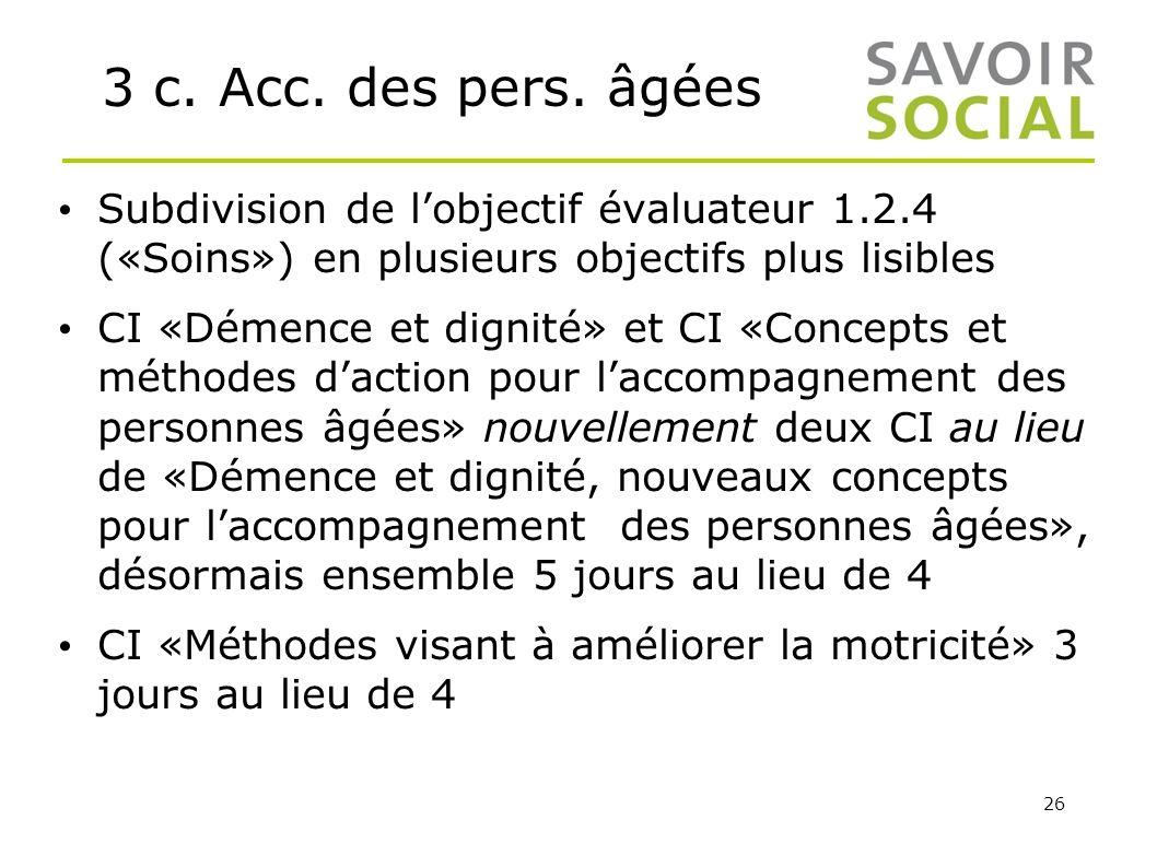 3 c. Acc. des pers. âgées Subdivision de l'objectif évaluateur 1.2.4 («Soins») en plusieurs objectifs plus lisibles.