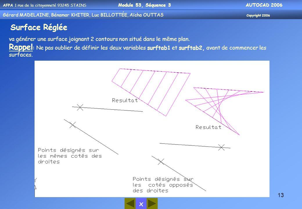 Surface Réglée va générer une surface joignant 2 contours non situé dans le même plan.