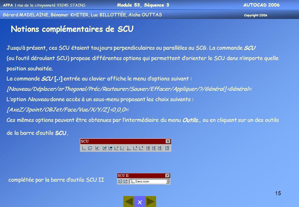 Notions complémentaires de SCU