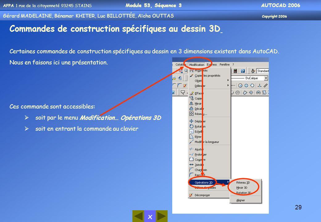 Commandes de construction spécifiques au dessin 3D