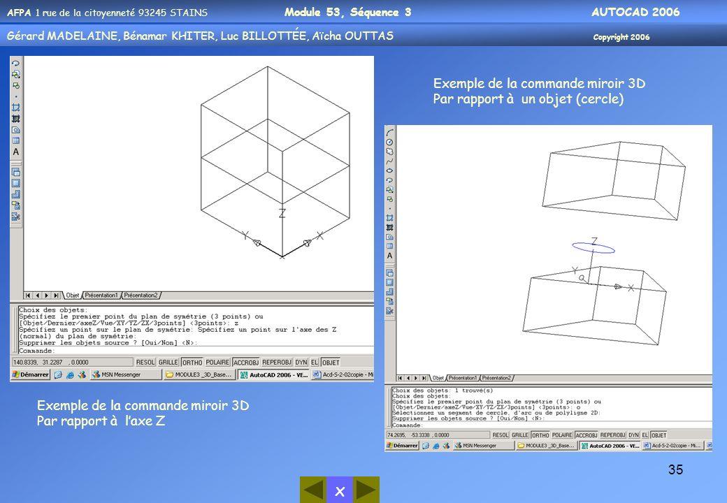 Exemple de la commande miroir 3D
