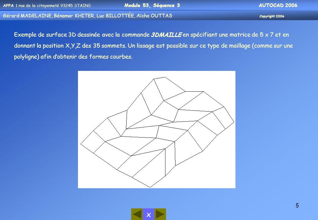 Exemple de surface 3D dessinée avec la commande 3DMAILLE en spécifiant une matrice de 5 x 7 et en donnant la position X,Y,Z des 35 sommets.