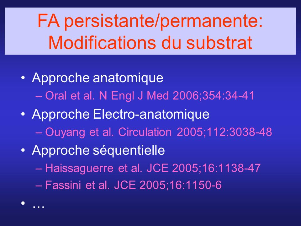 FA persistante/permanente: Modifications du substrat
