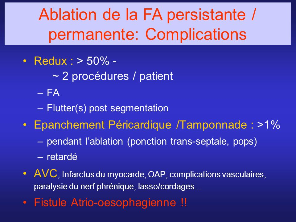 Ablation de la FA persistante / permanente: Complications