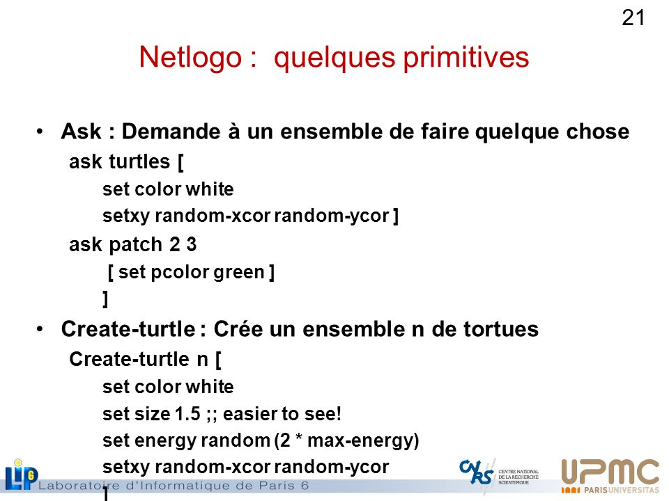 Netlogo : quelques primitives