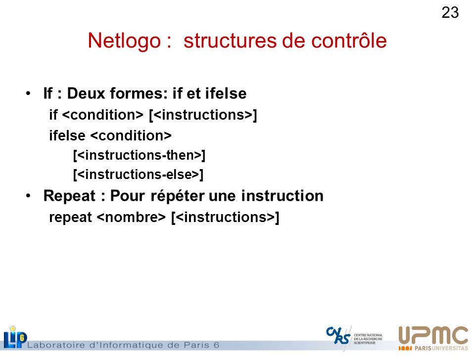 Netlogo : structures de contrôle