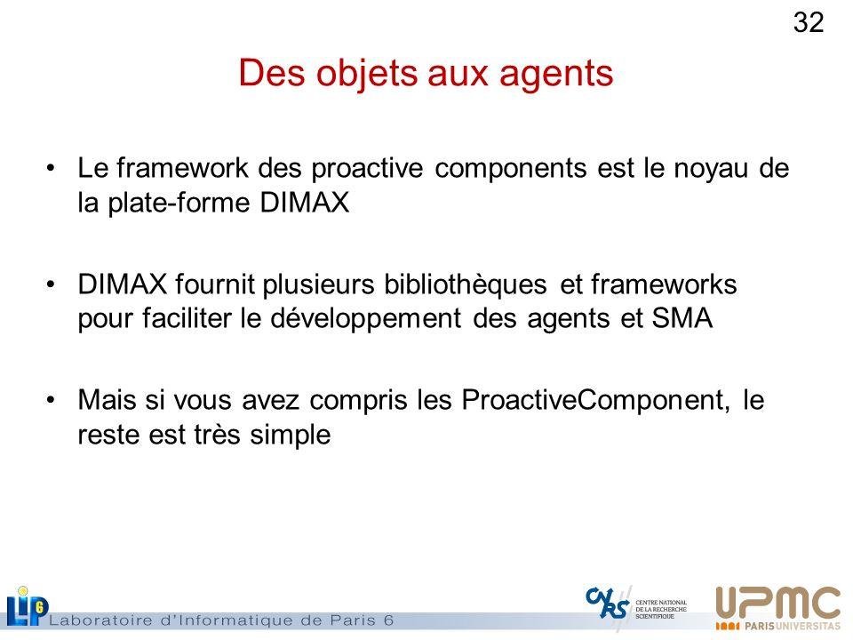 Des objets aux agents Le framework des proactive components est le noyau de la plate-forme DIMAX.