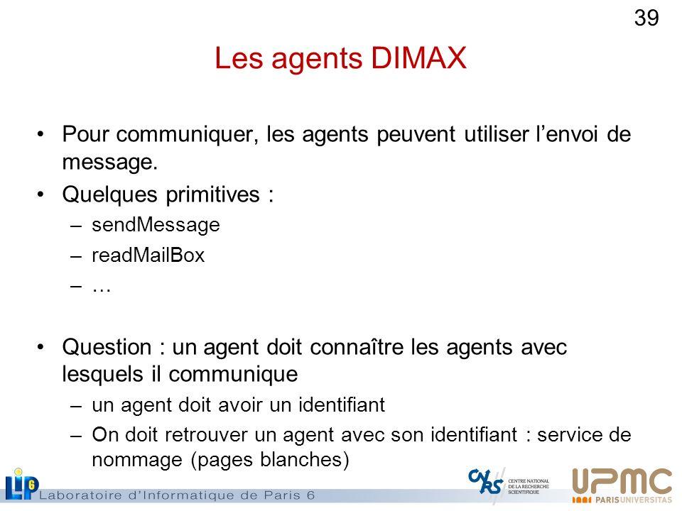 Les agents DIMAX Pour communiquer, les agents peuvent utiliser l'envoi de message. Quelques primitives :