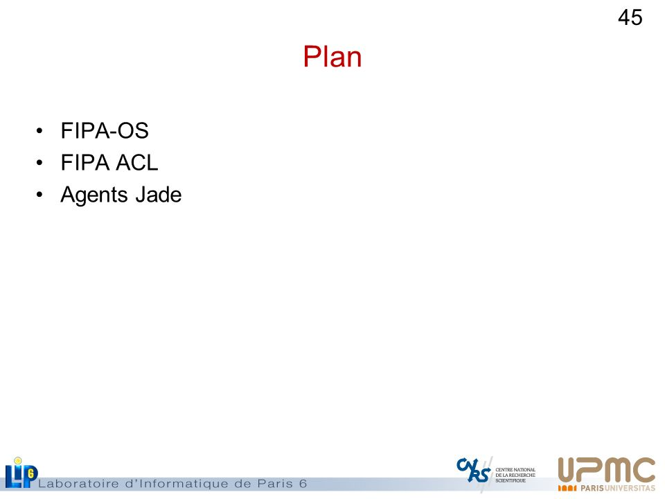 Plan FIPA-OS FIPA ACL Agents Jade