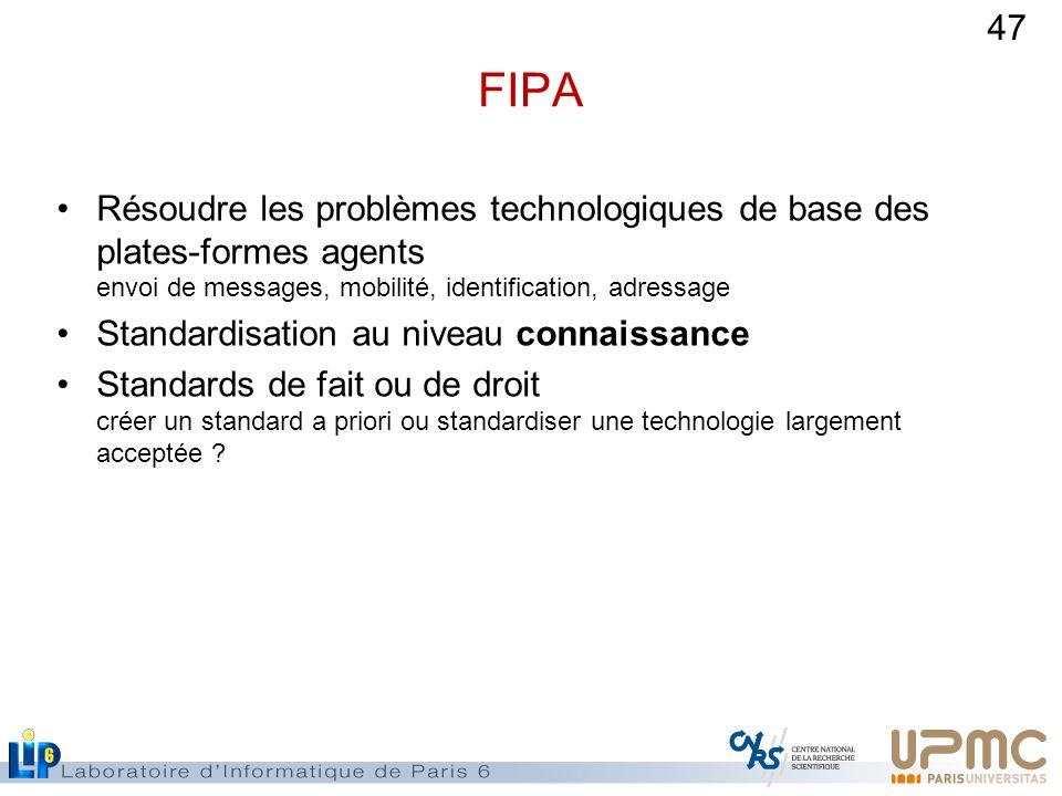 FIPA Résoudre les problèmes technologiques de base des plates-formes agents envoi de messages, mobilité, identification, adressage.