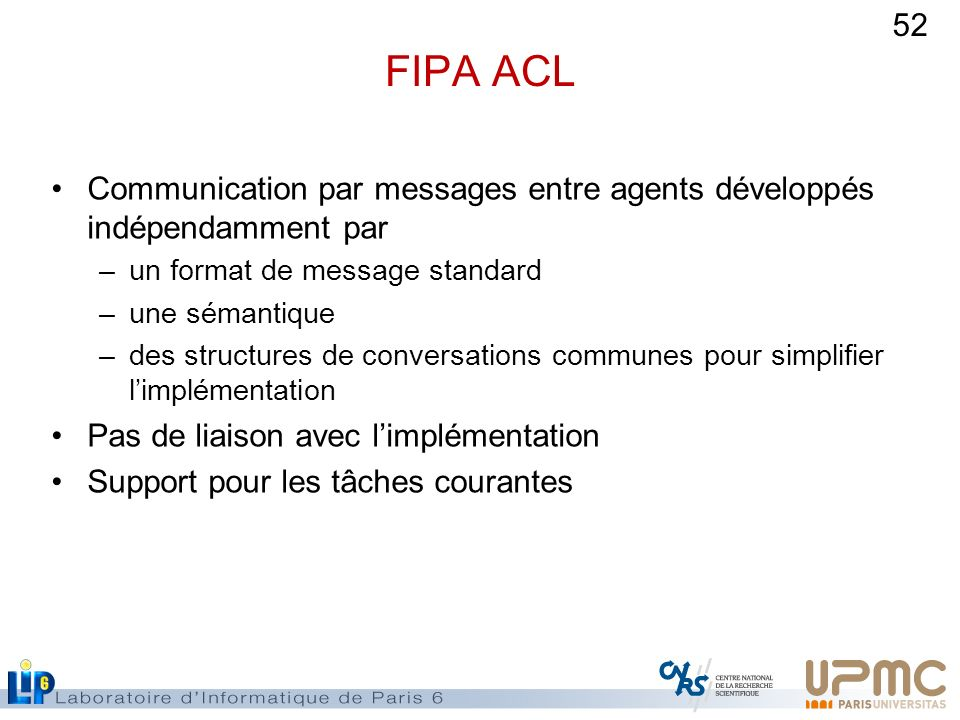 FIPA ACL Communication par messages entre agents développés indépendamment par. un format de message standard.