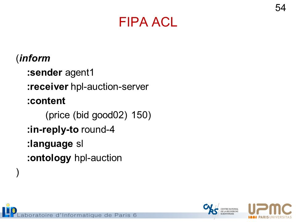 FIPA ACL (inform :sender agent1 :receiver hpl-auction-server :content