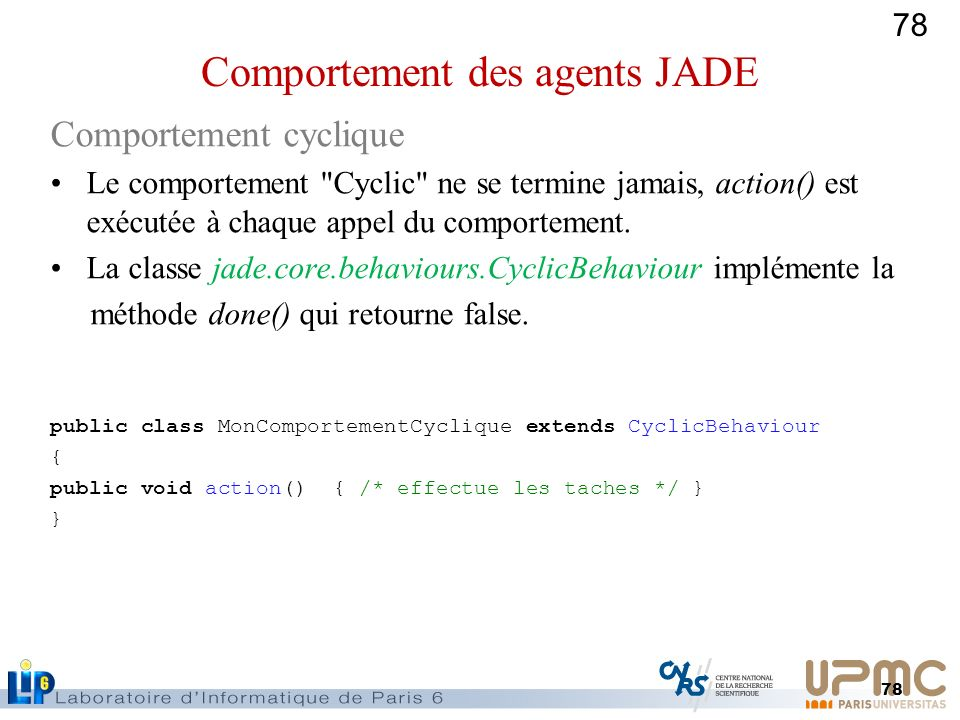 Comportement des agents JADE