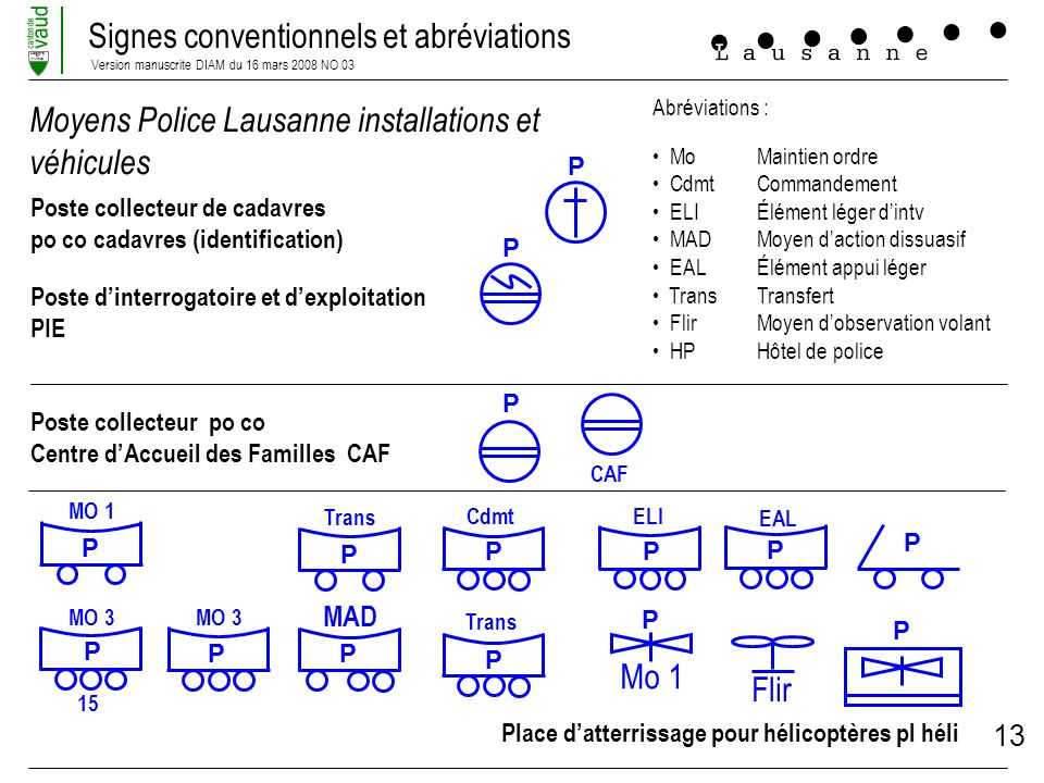 Moyens Police Lausanne installations et véhicules
