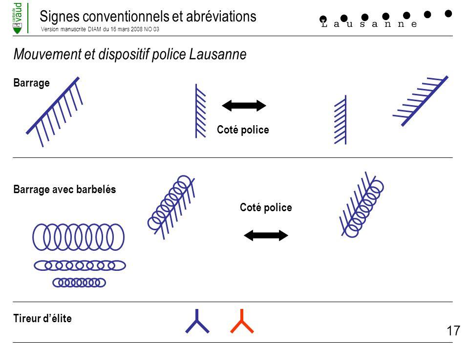 Mouvement et dispositif police Lausanne