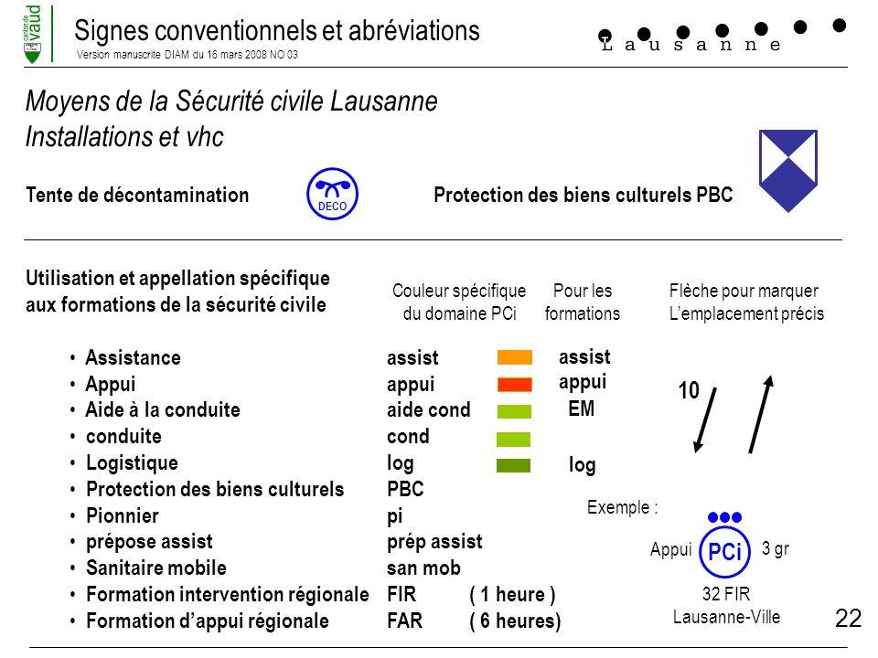 Moyens de la Sécurité civile Lausanne Installations et vhc