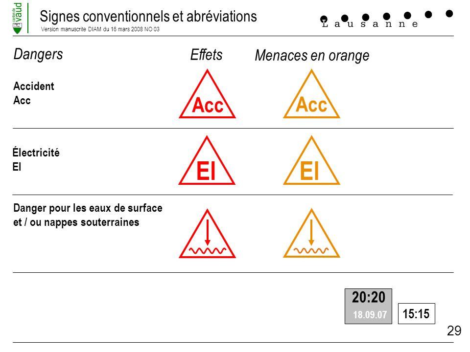 El El Acc Acc Dangers Effets Menaces en orange 20:20 15:15 Accident
