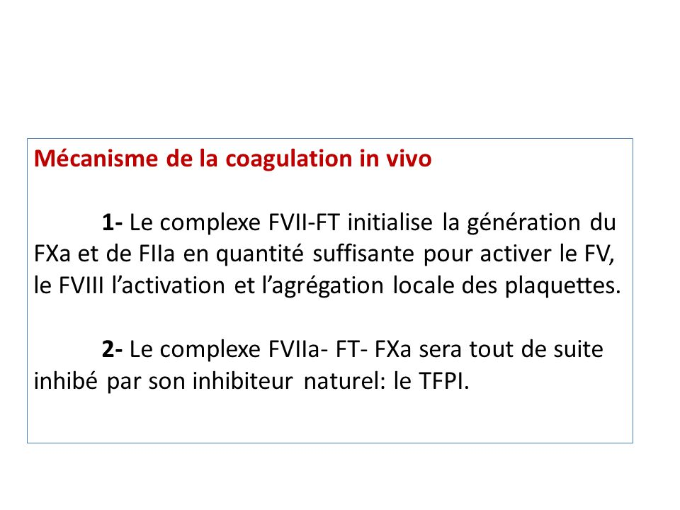 Mécanisme de la coagulation in vivo